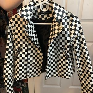 Nasty Gal Checkered Leather Jacket
